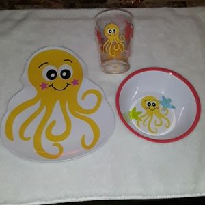 Bonton octopus plate, bowl, and cup set